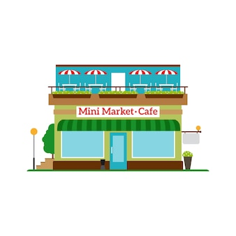 Mini market cafe vlakke stijl pictogram