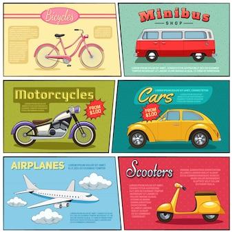 Mini posters set fiets minibus motor auto vliegtuig en scooter tekening in plat komische stijl