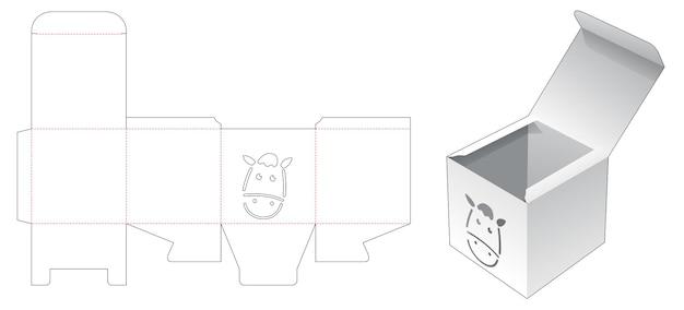 Mini vierkante doos met sjabloon voor gestanst paardsjabloon