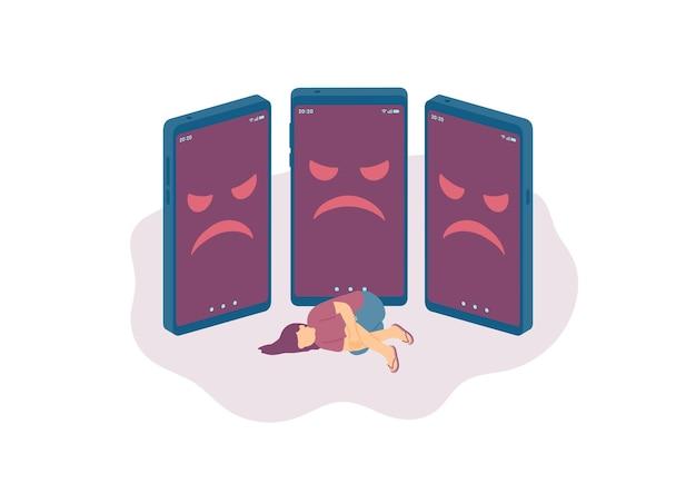 Miniatuur kleine mensen depressie cyberpesten online