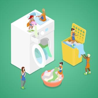 Miniatuurmensen die kleren wassen