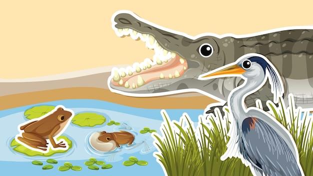 Miniatuurontwerp met krokodil en reiger