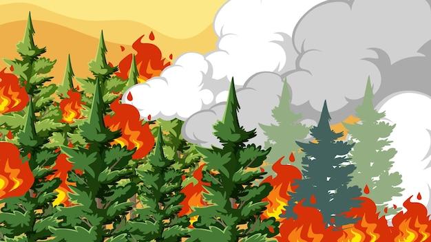 Miniatuurontwerp met vuur in het bos