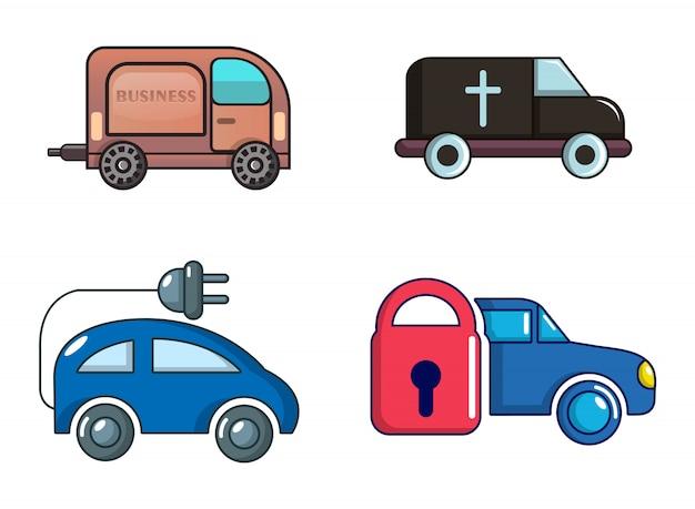 Minibus pictogramserie. beeldverhaalreeks minivan vectorpictogrammen geplaatst geïsoleerd