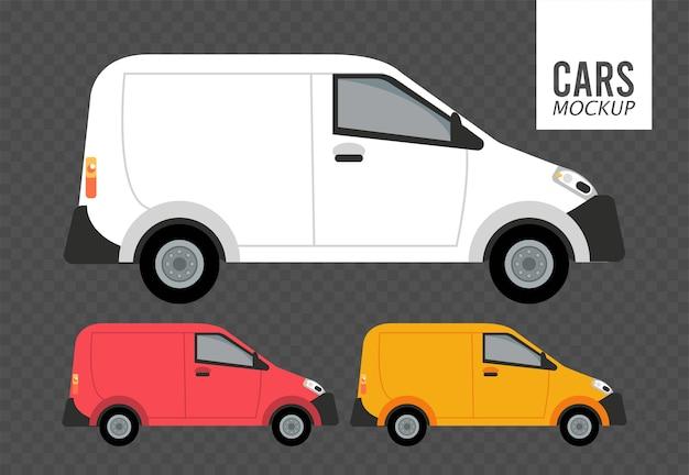 Minibusjes mockup auto's voertuigen