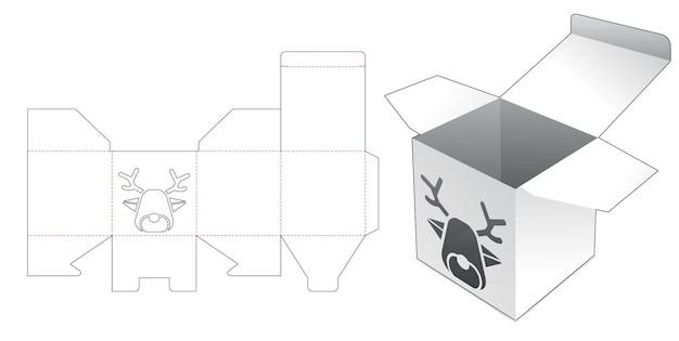Minidoos met gestanst sjabloon in de vorm van een venster in de vorm van een rendier