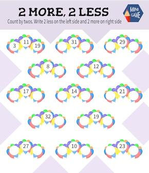 Minigame voor kinderen 2 meer, 2 minder. cartoon-stijl. vector illustratie.