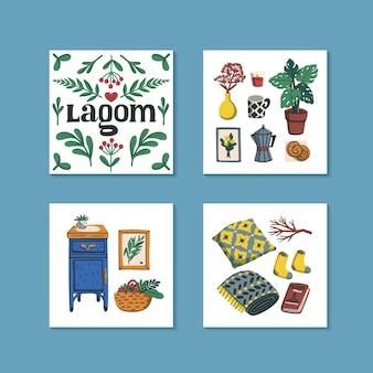 Minikaarten met lagom-letters en gezellige dingen voor in huis, zoals een kussen met plantenmeubels