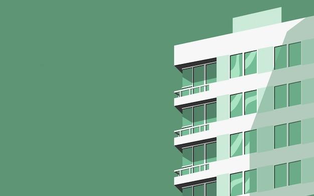 Minimaal gebouw in zonsondergangtijd in groene kleurtoon