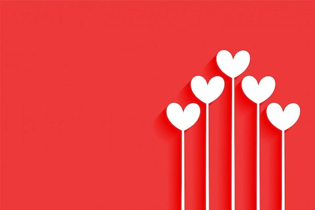 Minimaal gelukkig de harten van de achtergrond valentijnskaartendag ontwerp