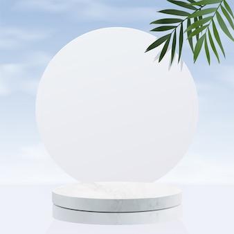 Minimaal geometrisch, wit marmeren podium met lucht