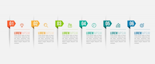 Minimaal infographic sjabloonontwerp met nummers 6 opties of stappen.