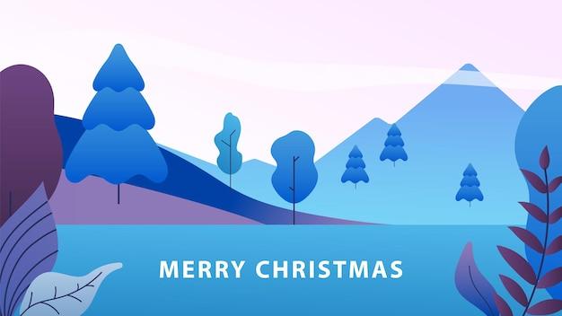 Minimaal kerstlandschap. winter abstracte natuur achtergrond, nieuwjaar bos en berg. seizoensgebonden vectorillustratie. bosboom, cartoon kerstbanner