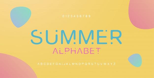 Minimaal lettertype creatief modern alfabet. typografie met stip normaal en nummer. minimalistische stijllettertypen instellen. illustratie
