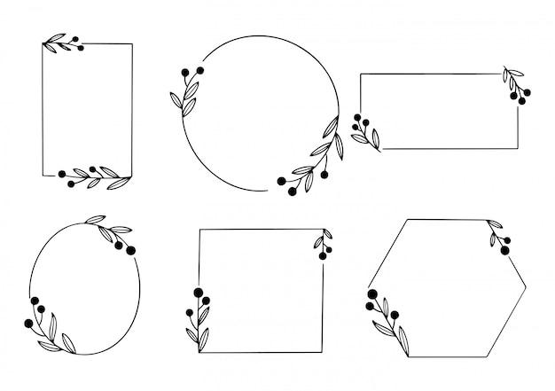 Minimaal lineart bloemenframe