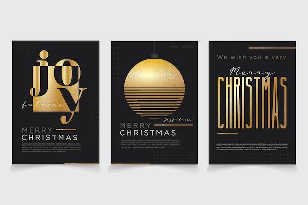 Minimaal merry christmas gouden wenskaartontwerp