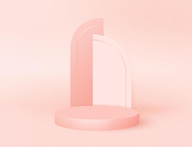 Minimaal modern 3d podium met art decoboog. vector voetstuk platform voor product cosmetica, mode studio display. nominatie award stand mockup, realistische scène render ontwerp. geometrisch leeg podium