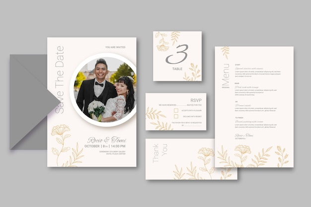 Minimaal pakket voor bruiloftsbriefpapier