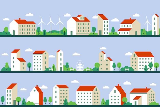Minimaal panorama van de stad. herenhuizen gebouwen, stadsbeeld en stadsgezicht bouwen geometrische stijl vlakke afbeelding set