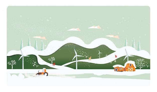 Minimaal panorama vector illustratie van landschap van het platteland in de winter
