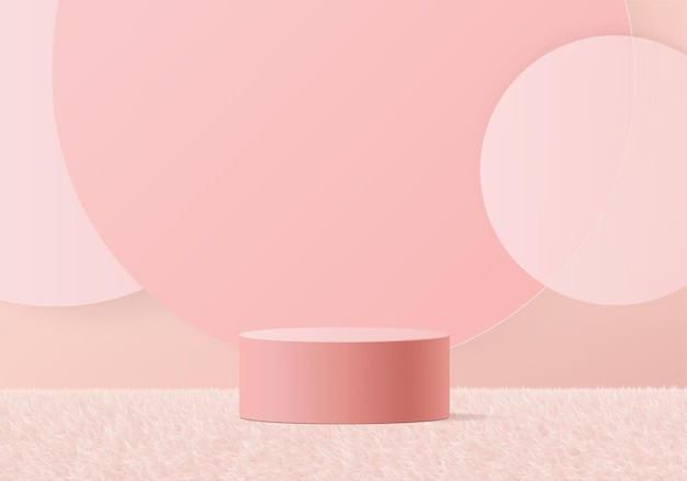 Minimaal roze podium en scène met 3d render in abstracte achtergrondsamenstelling