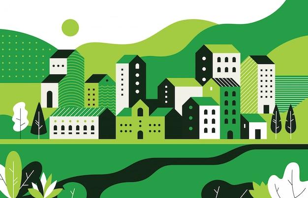 Minimaal stadsbeeld. vlak landschap met geometrische gebouwen en natuur, stadsstraat patroon.