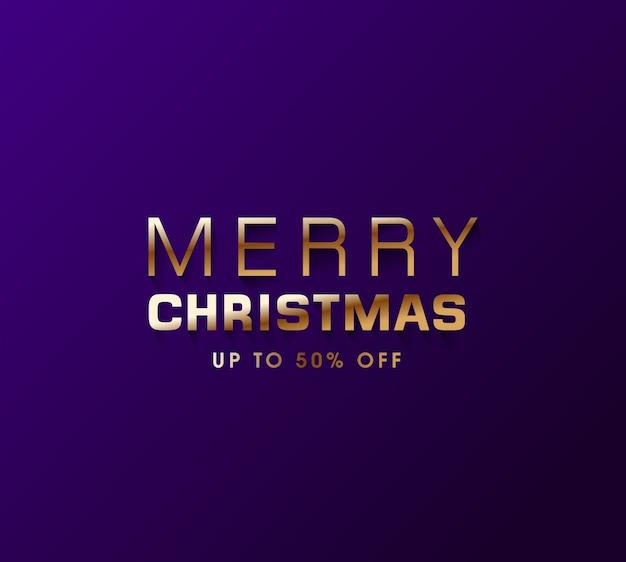 Minimaal vrolijk kerstfeest gouden letters