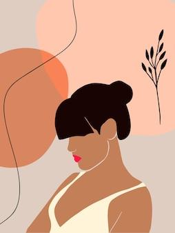 Minimaal vrouwenportret en abstracte vorm in trendy boho-stijl