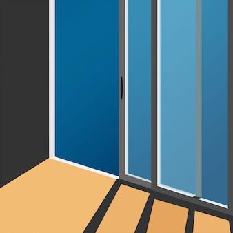 Minimaal zicht op de glazen deur van het minimale huis met schaduw van de zon op de vloer