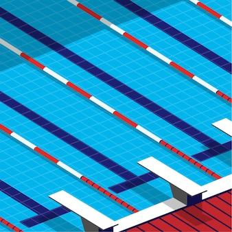 Minimaal zicht op het zwembad in minimale stijl met springplank naast het zwembad