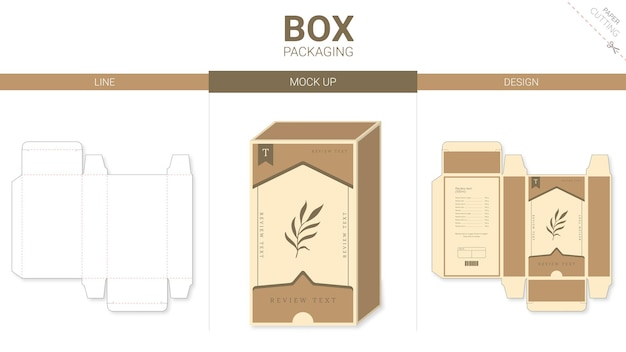 Minimal box-verpakking en gestanste mockup-sjabloon