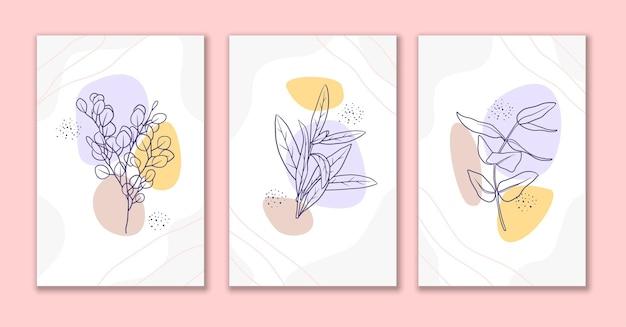 Minimal line art bloemen en bladeren posterontwerp a
