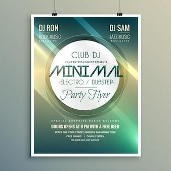 Minimal music club flyer brochure sjabloon in moderne stijl