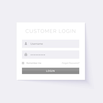 Minimal wit login formulier design template