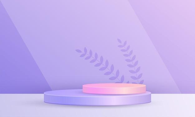 Minimale 3d-scène productweergave cirkel podium blad achtergrond paars roze kleur