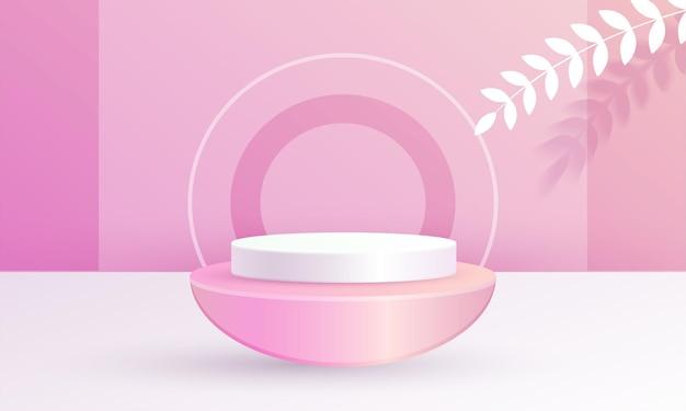 Minimale 3d-scène productweergave cirkel podium blad roze achtergrondkleur