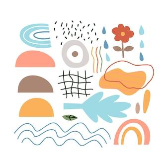 Minimale abstracte symbolen ingesteld. vectorillustratie van moderne objecten.