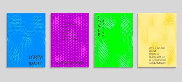 Minimale abstracte vector halftone dekking ontwerpsjabloon. toekomstige geometrische gradiëntachtergrond. vectorsjablonen voor posters, banners, flyers, presentaties en rapporten