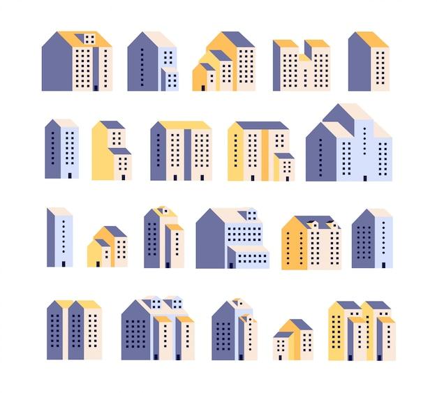 Minimale appartementenhuizen. woongebouwen, stedelijke stadshuizen, grafische stad. architectuurelementen