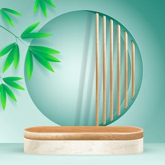 Minimale bamboe podiumscène met geometrische vormen. cilinder bamboe podium of wit marmeren platform.