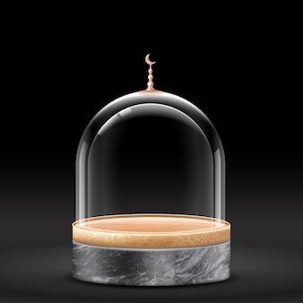 Minimale bamboe podiumscène met geometrische vormen. cilinder bamboe podium of zwart marmeren platform.