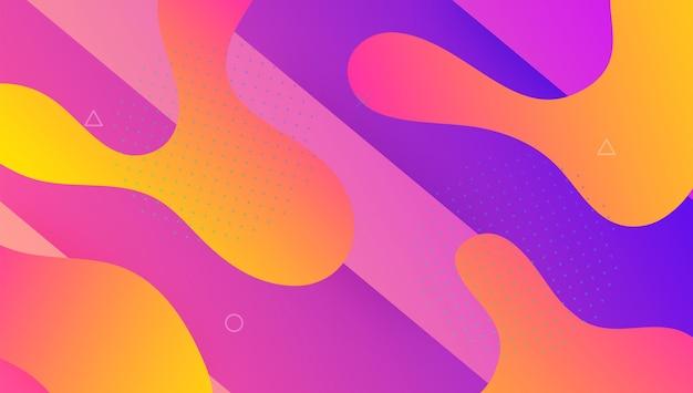 Minimale banner. platte bestemmingspagina. roze heldere achtergrond. golvende geometrische lay-out. spectrumsjabloon. grafische pagina. modern ontwerp. dynamisch patroon. lila minimale banner