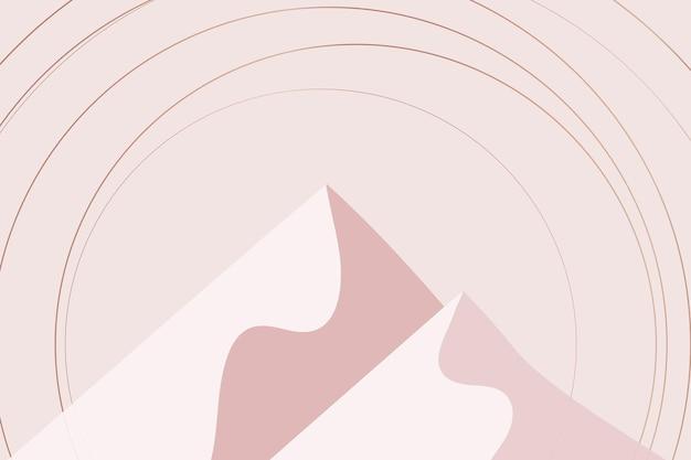 Minimale berglandschap scandinavische esthetische achtergrond in roze goud