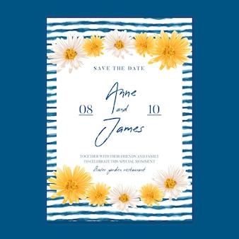 Minimale bloemen bruiloft kaartsjabloon