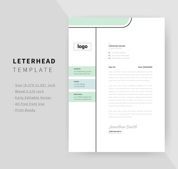 Minimale briefhoofd ontwerpsjabloon voor het bedrijfsleven