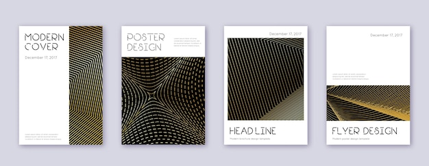 Minimale brochure ontwerpsjabloon set. gouden abstracte lijnen op zwarte achtergrond. aantrekkelijk brochureontwerp. geweldige catalogus, poster, boeksjabloon etc.