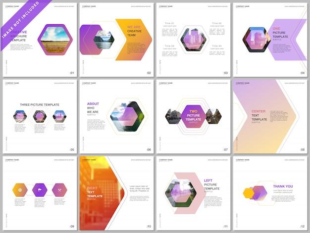 Minimale brochuremalplaatjes met kleurrijk zeshoekig ontwerp