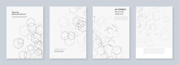 Minimale brochuremalplaatjes met zeshoeken en lijnen op wit.