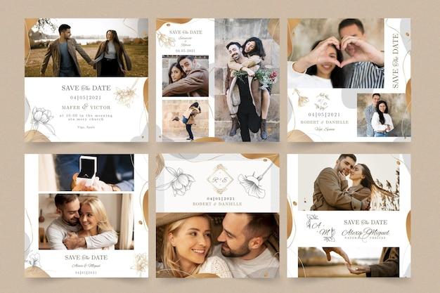 Minimale bruiloft instagram-berichten