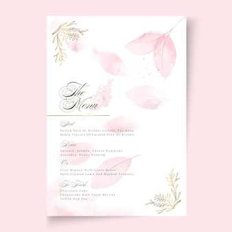 Minimale bruiloft menu ontwerpsjabloon